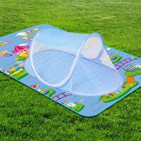 免安装可折叠夏季婴儿蚊帐罩大号便携式蒙古包BB儿童床蚊帐0-3岁 点点带拉链 蓝色