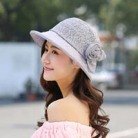 户外防晒帽雷丝透气盆帽女士时尚甜美帽子花朵别针太阳帽遮阳帽布帽