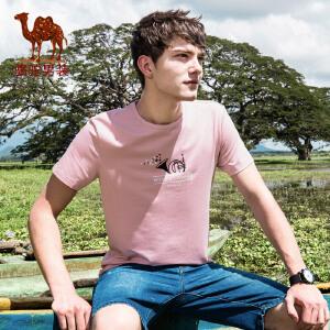 骆驼男装 2018年夏季新款青年休闲短袖T恤 微弹圆领印花棉质上衣