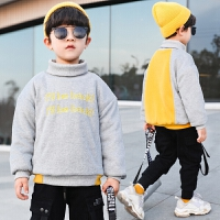 男童加绒卫衣冬装儿童秋冬款上衣中大童洋气