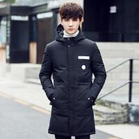 韩版男士连帽反季清仓羽绒服青年冬季加厚中长款修身外套男潮
