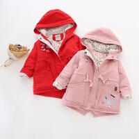 女童风衣夹棉加厚冬新款刺绣连帽中长款棉衣棉袄外套