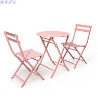 网红简约户外北欧休闲铁艺桌椅组合 甜品奶茶店咖啡厅室外折叠桌