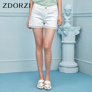 卓多姿2018夏装新款韩版蕾丝拼接口袋纯色修身牛仔短裤女736E485