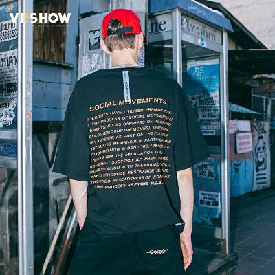 VIISHOW2018夏季新款短袖T恤男情侣黑色套头男士宽松体恤学生装
