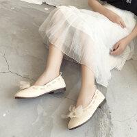 户外蝴蝶结搭配裙子的单鞋时尚温柔晚晚鞋子女平底休闲鞋