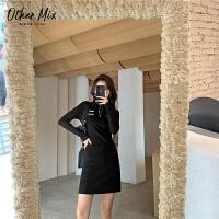 七格格othermix黑色针织连衣裙女2020秋冬新款修身显瘦长袖可盐可甜短裙潮