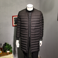 5mm冬季中长款羽绒服男韩版修身棒球领轻薄白鸭绒保暖男装外套潮