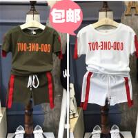 男童运动套装夏季新款韩版中小童印花T恤+休闲短裤两件套幼儿