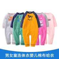 费特 男女童连体衣婴儿棉布哈衣宝宝长爬衣欧美风卫衣连体衣