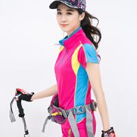 户外女式速干衣拼接短袖T恤修身大码跑步运动透气登山服衣裤套装 玫红色 5802/单件上衣