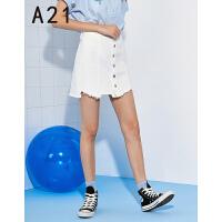 以纯线上品牌a21 2017夏装新款牛仔裙女甜美百搭高腰不规则半身裙