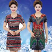 大码妈妈装夏装连衣裙中年人短袖夏天裙子40-50岁妇女中老年女装
