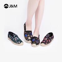 J&M快乐玛丽2019春季新款潮亮片平底蕾丝休闲套脚渔夫鞋女鞋