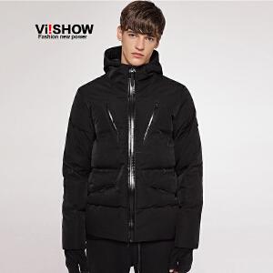 VIISHOW冬季白鸭绒男式羽绒服修身韩版连帽保暖青年外套潮