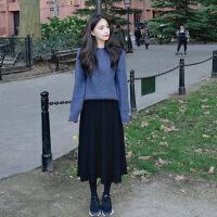 毛衣女新品2018新款秋冬季韩版小清新秋季上衣学生毛衣配裙子两件套装女时尚 蓝色 毛衣+黑色针织裙