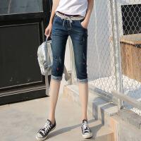 夏季牛仔七分裤女版牛仔裤松紧腰大码弹力小脚7分裤中裤薄款