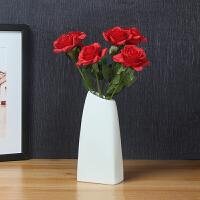北欧创意陶瓷花瓶小清新家居装饰品摆件客厅餐桌干花花瓶花艺 破晓【大号】+6枝红色保湿玫瑰花 【套装】