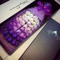 创意生日礼物渐变永生花香皂花玫瑰花束礼盒速递送女友老婆情人节表白礼物结婚纪念日礼物