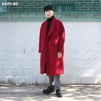 秋冬大红色羊绒大衣男长款过膝韩版落肩双排扣毛呢大衣男呢子外套 米黄色 小码