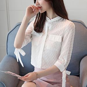 2018夏季新款韩版修身浮点衬衫女蝴蝶结七分袖上衣女夏装