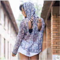 印花时尚长袖连帽跑步外套宽松镂空运动罩衫女速干T恤瑜伽健身上衣