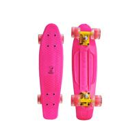 滑板小鱼板滑板青少年单翘板四轮公路滑板 粉红色