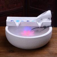 家居客厅流水雾化加湿器办公室桌面摆件陶瓷喷泉创意乔迁开业礼品 鱼池白 (有雾化)