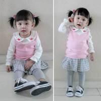 秋款女宝宝针织背心百搭婴儿V领纯棉线口袋马甲1-2-3-4岁女童坎肩