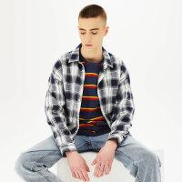 【1件5折价:114.5,可叠券】美特斯邦威格子衬衫男长袖春季时尚休闲青少年学生宽松外套男