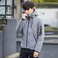 男士羽绒服修身韩版短款加厚新款冬季青年潮流休闲连帽外套男