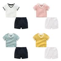 男童夏装短裤子套装婴儿短袖t恤1岁3个月8宝宝衣服
