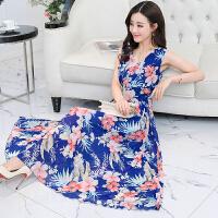 实拍2018夏新款v领修身显瘦长款大摆长裙波西米亚雪纺连衣裙