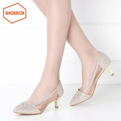 达芙妮旗下SHOEBOX/鞋柜春季尖头性感中跟女鞋浅口套脚酒杯跟单鞋