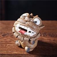 呆萌招财貔貅茶宠摆件精品可养创意手工茶具雕塑摆件插香器*
