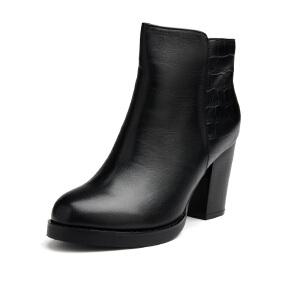 富贵鸟新款 时尚休闲绒里短靴女鞋圆头粗跟舒适橡胶大底