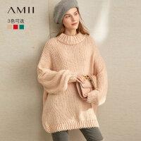 【到手价:149元】Amii极简慵懒风粗针马海毛毛衣2019冬新款大落肩宽松中长套头毛衣