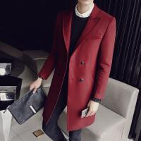 秋冬季风衣男中长款韩版潮流呢子外套男装青年修身型男士毛呢大衣