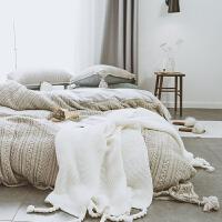 流苏边针织棉四件套简约水晶绒秋冬季短毛绒床单被套床上用品