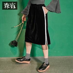 【尾品价100】森宿Z相遇秋装新款文艺拼接网纱丝绒半身裙女中长裙子
