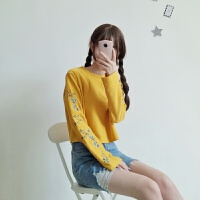 韩观春季女装韩版花朵刺绣喇叭袖长袖短款套头卫衣2017新款学生上衣潮 均码 (160/84A)