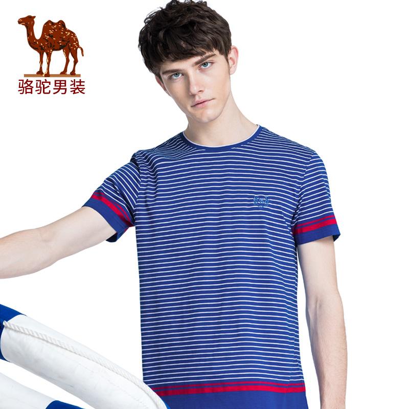 骆驼男装 2018夏季新款条纹撞色纯棉t恤休闲圆领短袖男青年打底衫