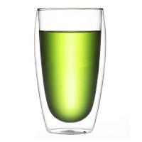 双层耐热大玻璃杯子 450ml咖啡杯透明茶杯水杯