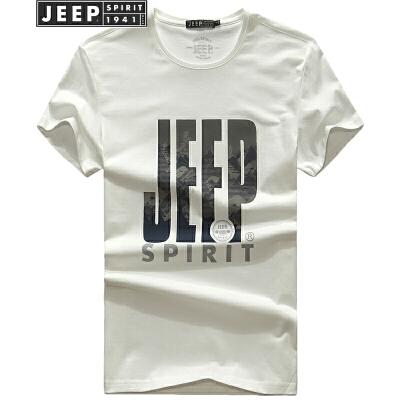 吉普JEEPT恤男短袖t恤纯棉字母打底衫夏装青年半袖圆领体恤衫