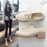 网红同款新款韩版学生系带深口单鞋粗跟女鞋子复古绑带时尚高跟鞋