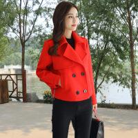2018秋季新款新款韩版时尚气质显瘦毛呢短装上衣秋冬季女士小款西装领呢子外套