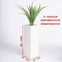 陶瓷大号白色方盆带托盘花盆办公室绿植方形白瓷花盆水培园艺花器 深灰色 30高白色