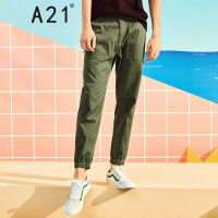 A21以纯线上品牌 2018夏季新品男装休闲裤男低腰修身束脚九分裤男4821041003