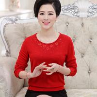 本命年中老年女装春秋装大红色针织衫上衣服装妈妈装百搭打底毛衣