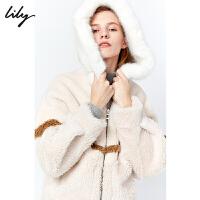 【不打烊价:653元】 Lily2019冬新款女装年轻撞色条纹大廓形连帽环保皮草短外套3909